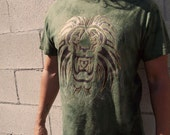 Tribal Lion  -  Mens Tie Dyed Olive Green Shirt -  Copper Foil Accent -  Medium, Large, Xl  Tribal Tattoo