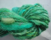 Green Lambswool Handspun MINI SKEIN - Forest Frost - Hand Dyed Yarn with Sparkle