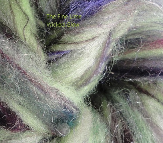 RESERVED for Deanna Glow in the Dark Handspun Sparkle Thick and Thin Yarn - Wicked Glow - Hand Dyed Wool