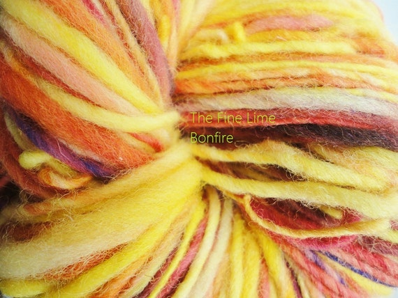 Red, Yellow, Orange, and Purple Wool - Bonfire - Handspun Worsted Weight Yarn