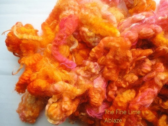 Crimpy Border Leicester Lambswool Locks - Ablaze - Hand dyed for Spinning and Felting