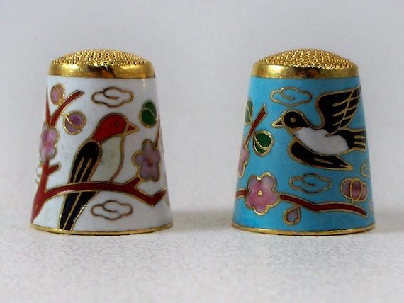 Pair Vintage Chinese Cloisonne Enameled Thimbles