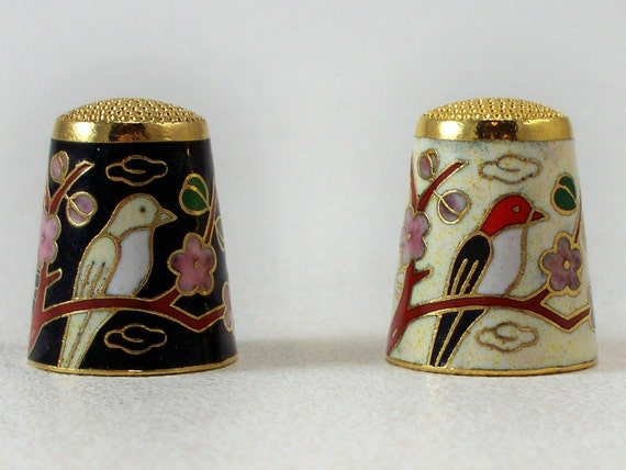 Pair Vintage Chinese Cloisonne Enameled Thimbles (B)