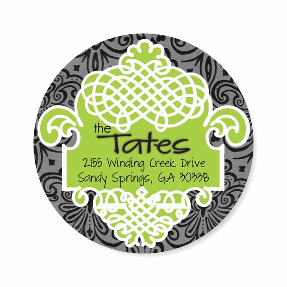 Personalized Address Labels Stickers / Damask & Scroll / Black Lime