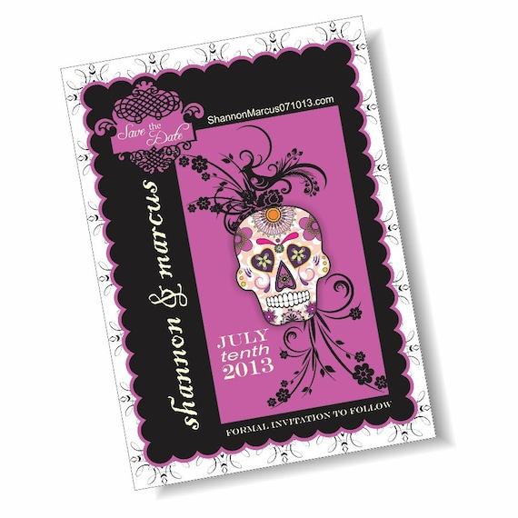 Sugar Skull Dia de los Muertos 5x7 Save the Date Announcement