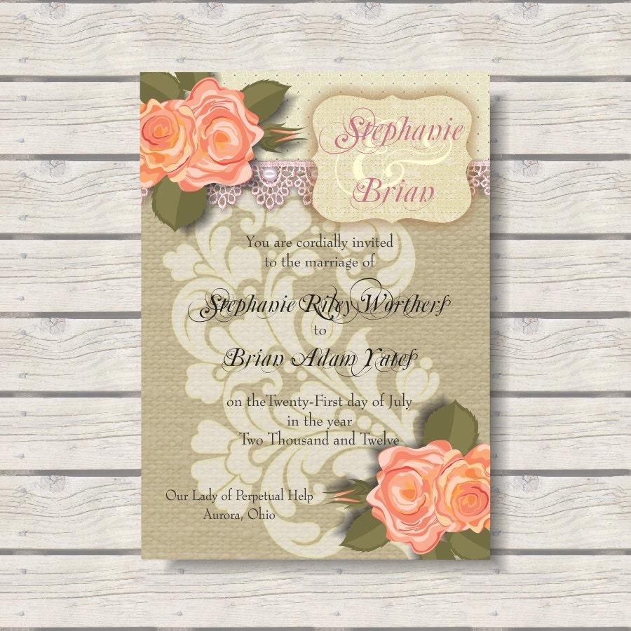 Cheap Shabby Chic Wedding Invitations: Burlap & Lace Shabby Chic Wedding Invitation Suite: