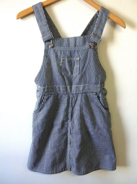 LEVI'S Jean Dress Denim Romper Overalls XS Pinstriped Vintage 70s Mini Pinafore