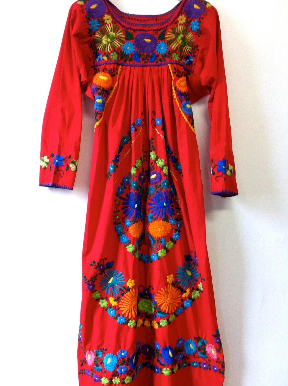 Oaxacan Mexican Maxi Dress Small Medium Long By Minimaxvintage