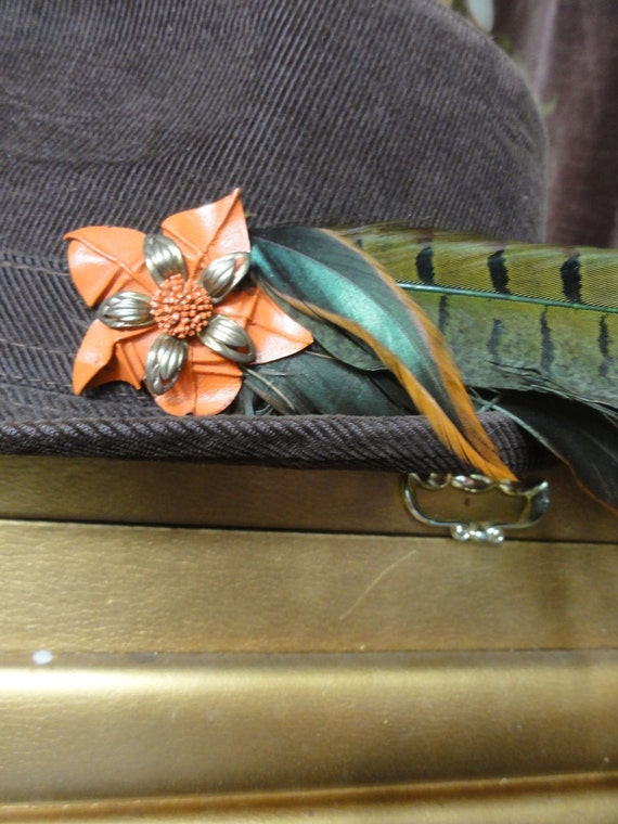 Leather Flower hat clip with Feathers  One of a Kind Unisex orange