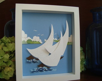 Nautical Baby Nursery, Sailboat Baby Nursery, Cut Paper sailboat, Cut Paper Beach Decor, Sailboat Decor, Regatta Decor