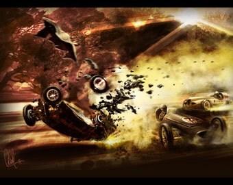 Vintage Automotive Art  Grand Prix Crash 8x12 Metallic Print