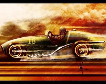 Vintage Automotive Art : 1950's Conceptual Grand Prix car 8x12 Metallic Print