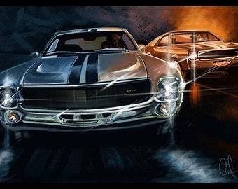 1968 AMC AMX Classic American Muscle Car 16x24 Metallic Print