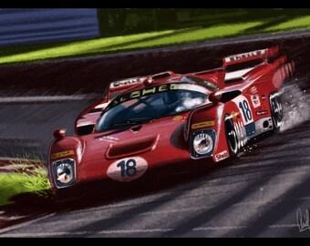 Automotive Art Red Ferrari : 12x18 Metallic Print