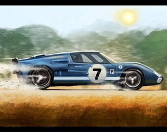 Automotive Art Muscle Car Blue Ford GT 16x24 Metallic Print