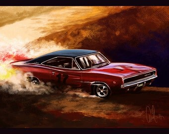 Automotive Art Muscle Car 1968 Charger 12x18 Metallic Print