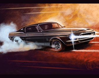 1968 Ford Shelby GT 500 Automotive Art 16x24 Metallic Print