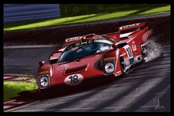 Automotive Art Red Ferrari: 16x24 Metallic Print