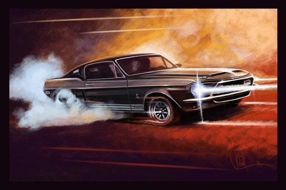 Automotive Art Ford Shelby GT 500 : 8x12 Metallic Print