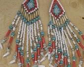 Vintage Native American Rice Bead Shoulder Duster Earrings