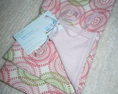 Baby Set of 2 Cotton Flannel Burp cloths-  Pink & Green Circles