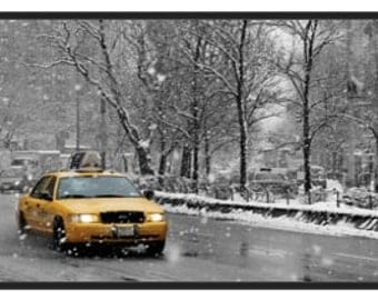 NYC Winter Cab (Framed Stretched Canvas Photo)