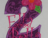 Personalized Birthday Number Shirt with Flower (1 2 3 4 5 and up) - Click for more fabric choices