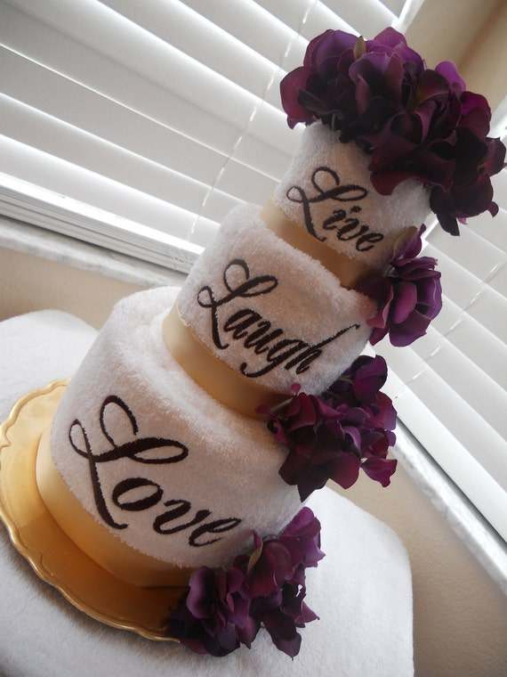 Live, Laugh, Love Double Layered Embroidered Towel Cake in Eggplant Hydrangea - Great as Bridal Shower or Wedding Reception Centerpiece