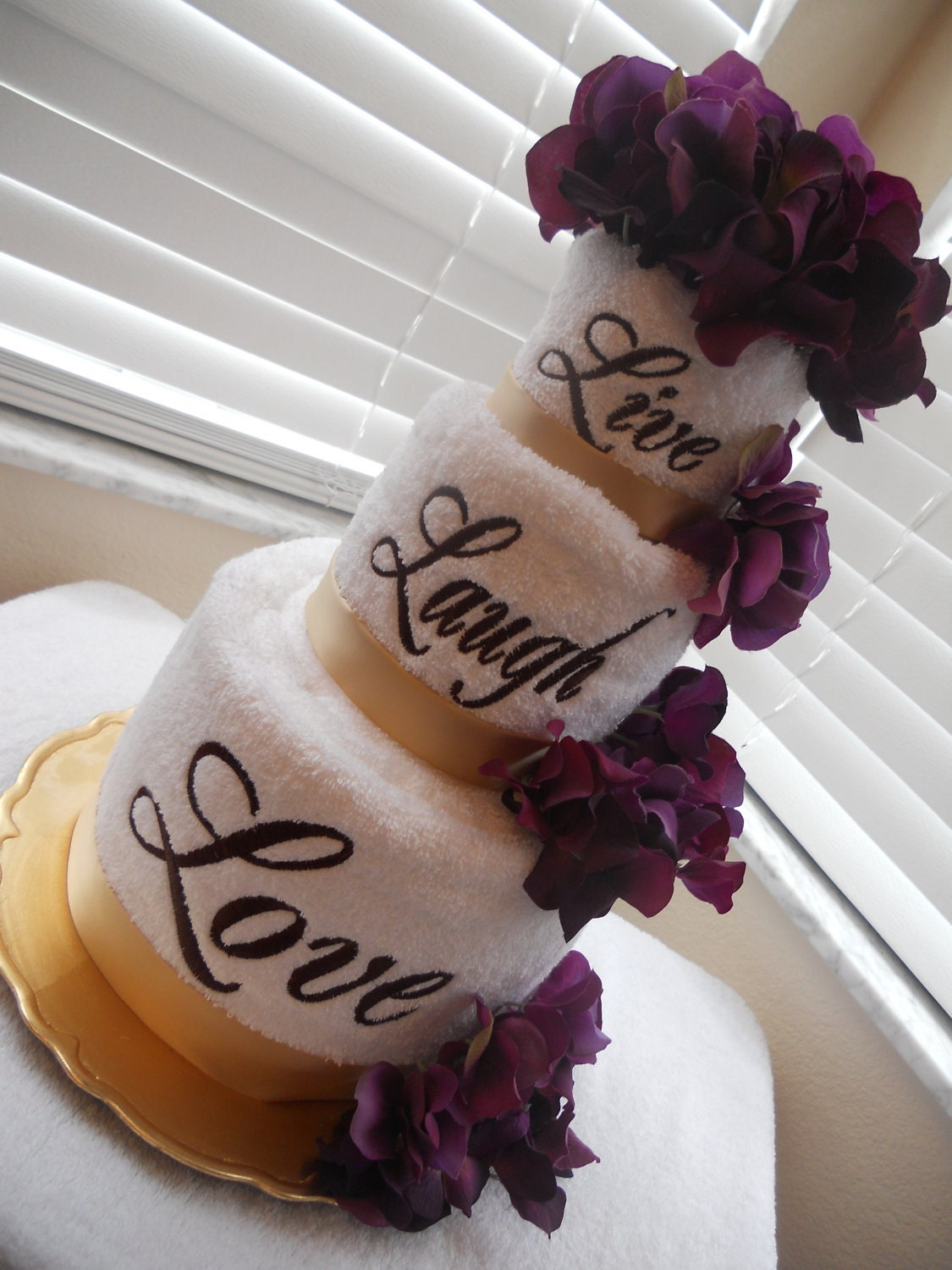 Live Laugh Love Double Layered Embroidered Towel Cake In
