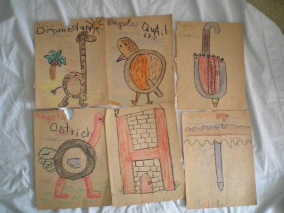 Original Childhood Art Work 1960s California Alphabet Crayon Drawings Grade School Elementary Lot 2