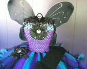 Black, turquoise, and purple blinged out petti-tutu dress approximate size 2-3T