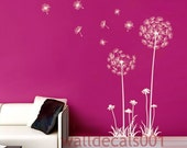 "Dandelions Wall Decals Wall stickers,decal,sticker,decor,Art 60"" tall"