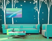 Wall Decal  White tree  decal wall Sticker tree decal stickergraphic mural art  - birds in birch forest