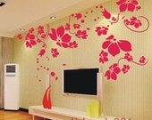 Wall Decals Wall Stickers,flower decals,floral pink,girl,room decor kids-Beautiful Flower