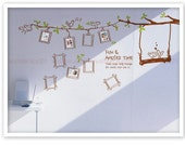 Vinyl wall decal wall sticker  photo birds tree decals - Fun and amused time-birds,photo frame