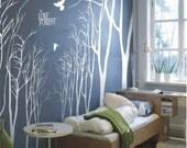 Vinyl Wall Decals Wall Stickesr  tree decal murals,wall art-14 winter trees Tree