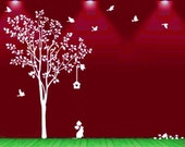 """Vinyl Wall Decals Wall Stickers  - Happy Tree with birds 80"""""""