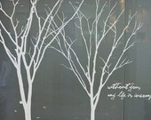 Tree Wall Decal wall stickerroom decor nature wall decor wall art -Winter Tree with Birds