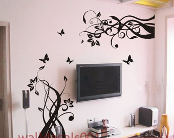 Wall Decals Wall sticker Flower decals butterfly Decal Wall Decor wall art-flower with butterfly