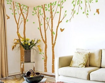 Tree Wall decals wall Stickers wall art-3 100in Birch Trees