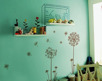 "Dandelions Wall Decal  Wall Stickers -Dandelions 60"" tall"