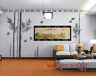 Wall Decal wall sticker bamboo decal birds decal  room decor wall decor wall art murals graphic-bamboo forest
