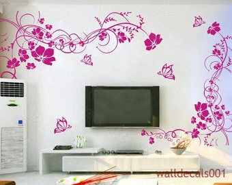Wall Decals,wall Stickers,flower,floral,butterfly,girl,room Decor