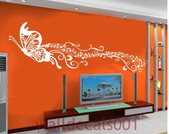 butterfly note - Removable Vinyl Wall Decal wall decor Sticker