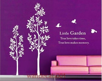 Two Trees with birds-Vinyl wall decal, sticker,Tree Decals Art