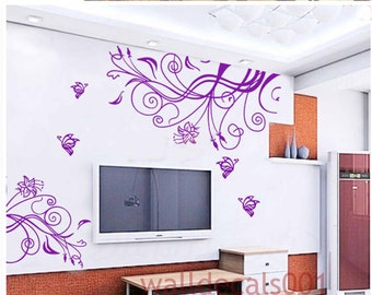 Vinyl Wall decal wall sticker  flower decal room decor nature graphic mural  flower With Butterfly
