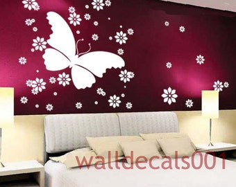 removable Vinyl Wall Decals Wall Sticker-Butterfly with flowers