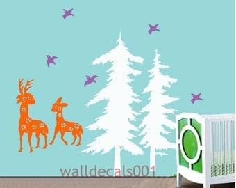 Kids Nursery Vinyl Wall Decal Wall Sticker   Art -pine tree with birds and deer