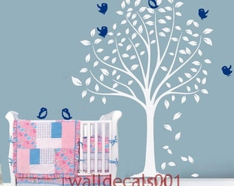 Kids Wall Decals wall stickers white tree decals baby decals murals wall art nursery decals wall decor - Birds Flying around the Tree