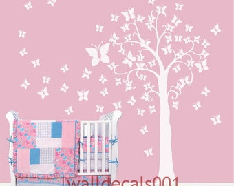 Kids wall decals Baby decals nursery decals Tree decals butterfly decals white tree decals murals graphic wall stickers-butterfly tree